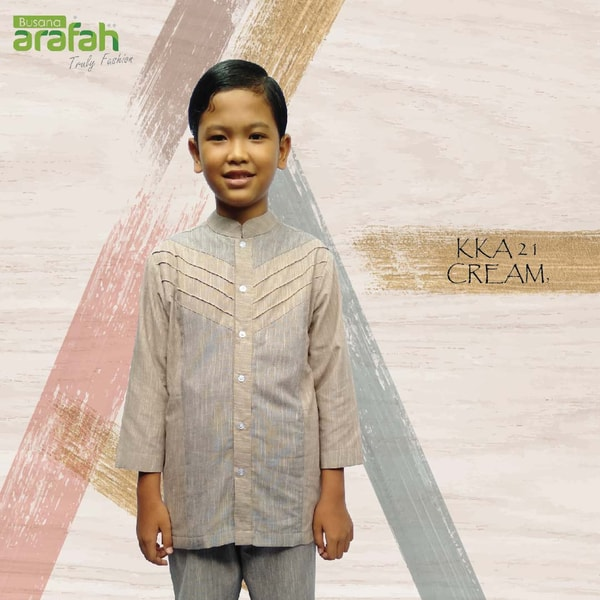 baju koko couple Anak 21 cream